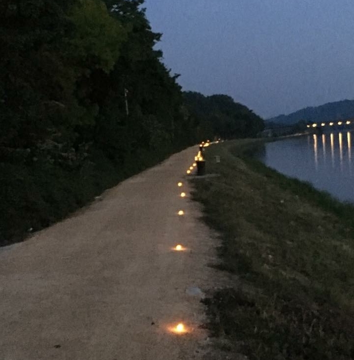 Candles along the banks of danube by Regensburg
